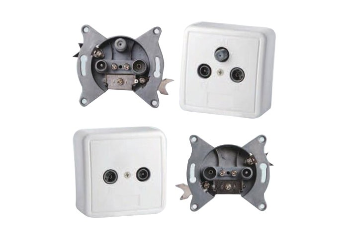 2 Hole 5-2450MHZ TV+SAT Wall Socket Outlet(SHJ-TWS012)