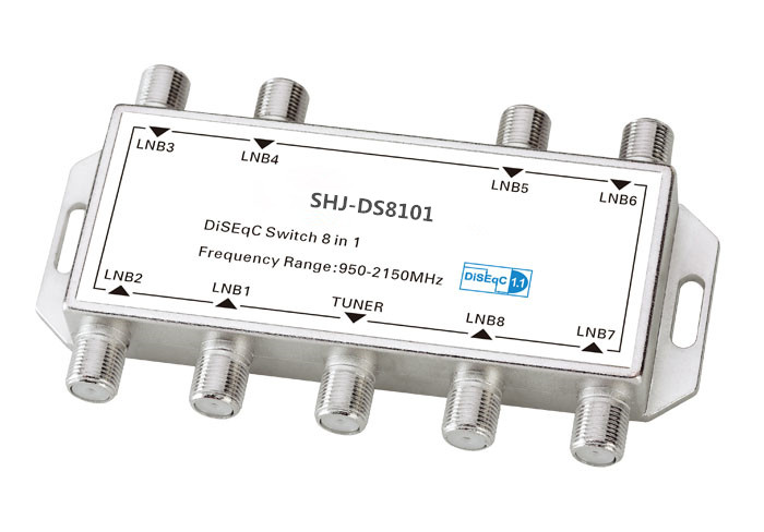 F Type Female 950-2150MHZ DiSEqC switch 8 IN 1(SHJ-DS8101)
